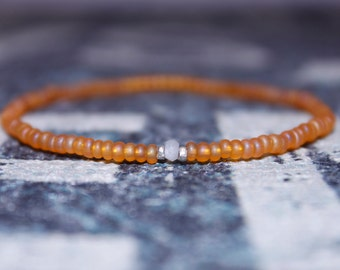Mens Moonstone Bracelet - Men's Bead Bracelets, Mens gift for him Husband Gift , Mens Seed Bead