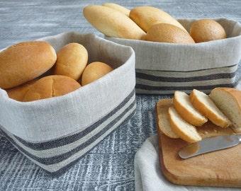 Linen basket, Striped basket, Fabric basket, Black stripe basket, Bread basket.