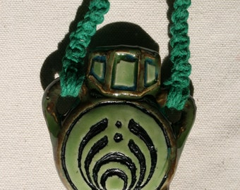 Green Bass drop  Pendant Pipe - Fully Functional Bowl - Hemp Necklace