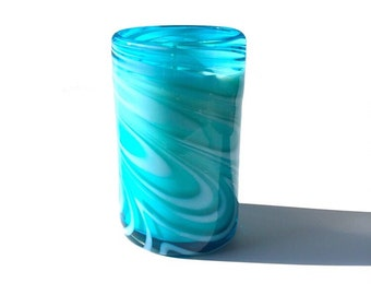 "Hand Blown Recycled Glass ""Whirling Aquamarine"" Teal Aqua & White Art Tumbler Soy Candle 15 oz Vanilla"