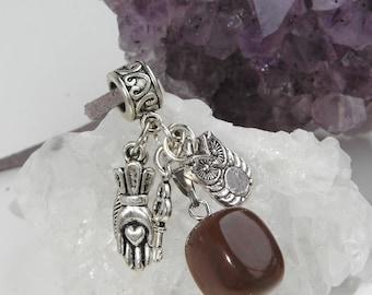 SOLDES Collier unique idée cadeau pour femme pendentif charms porte bonheur pierre en cristal de jaspe brun marron energisant reiki feminin