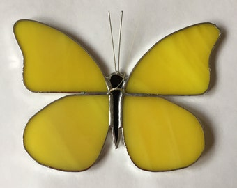 Yellow butterfly in Tiffany technique