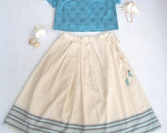 Beige/Off-white Handloom Cotton Midi Skirt and Teal/Blue Cotton-Silk Top