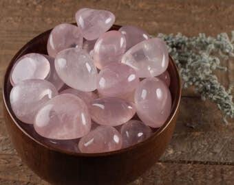 2 Medium ROSE QUARTZ Crystal Tumbled Stones - Rose Quartz Jewelry, Rose Quartz Pendant, Polished Stone, Healing Crystals Natural Stone E0275