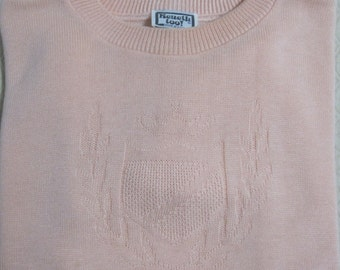 Pullover Sweater, Short Sleeve, Peach, Kenneth too!, Made in USA, Acrylic, Vintage