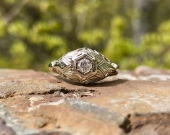 Vintage Art Deco Diamond Ring – Antique Diamond Ring – Filigree Engagement Ring - White Gold Diamond Ring – Tiny Diamond - WhistlingGypsyVTG