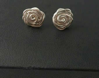 Sterling silver plated rose stud earrings