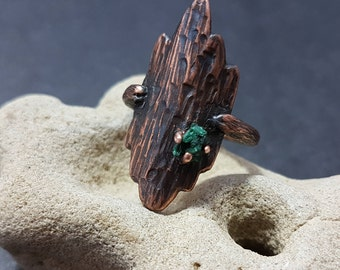 Copper Malachite Ring, Ring with Malachite, Malachite Stone, Nature Style, Wood Texture, Solitaire Ring, Artisan Jewelry,  Metalwork Jewelry