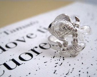 "Silver wrap ring, zodiac sign - pisces ""Pesci"""