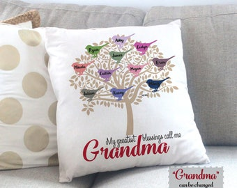 Personalized Grandma Gift - Grandmother Gift Idea - Grandchildren Gift - Mother's Day Gift - Custom Throw Pillow Couch Pillow - Gift for Mom