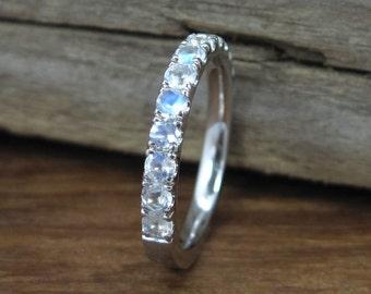 Moonstone Eternity Band, Eternity Wedding Band, Moonstone Wedding Ring, Moonstone Wedding Band, Moonstone Engagement Ring, Promise Ring