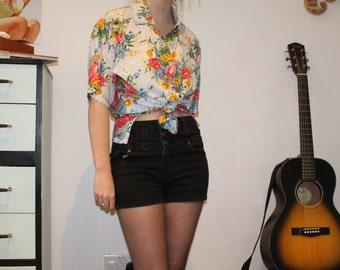 Vintage 1980's Floral Blouse/ Shirt (S/M)