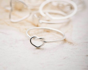Knot ring, Stacking Ring, Heart Ring, Silver Knot Ring, Midi Ring, Knuckle Ring