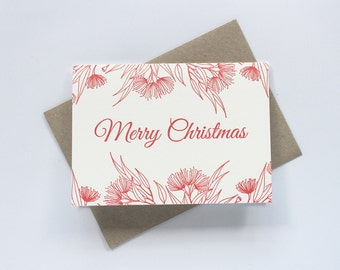 SALE to make way for new stock: Letterpress Merry Christmas Australian Botanical Greeting Card in Red
