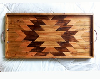 Wood Serving Tray | Geometric Serving Tray | Wood Breakfast Tray | Modern Wood Tray | Wood Wall Art | Wood Tray | Geometric Navajo
