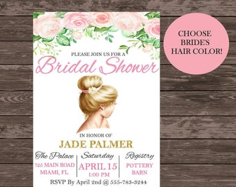 Bridal Shower Invitations - Personalized Bridal Shower Invites - Printable Bridal Shower Invitations - Custom Bridal Shower - Pink and Gold