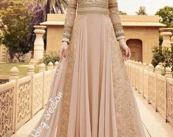 Indian dress anarkali dress peach color long sleeves evening dress 2017