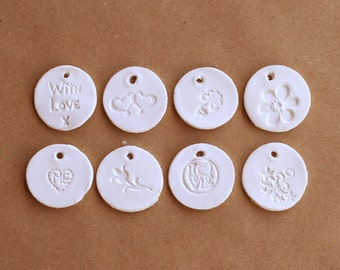 Unique tiny gift tags, mini gift tags, mini clay tags, Heart, with love, flowers, tulip, love, small round tags, mini hang tags, handmade