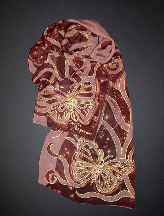 Brown silk scarf,Painted Silk Chiffon,Floral gold scarf,Large sarong wrap shawl,Butterfly,Fall scarf,Hand painted scarf,Gold brown scarf