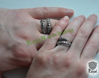 Rune ring. Viking runes. Viking jewerly. Elder Futhark ring. Dragon ring. Viking ring