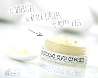 ORGANIC EYE CREAM • Anti wrinkle, anti black circles and anti puffy eyes day cream with Helychrysum, Hyaluronic Acid and Collagen.