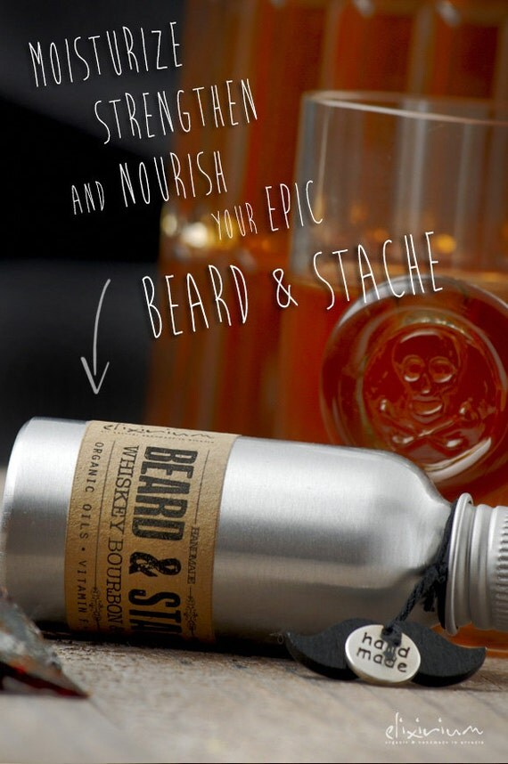 BEARD & STACHE OIL - Whiskey Bourbon and Caramel~Organic Beard oil~Mustache oil~facial hair oil~beard nourishing~beard moisturizer~for him