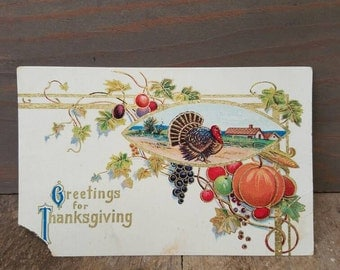 1914 Antique Thanksgiving Used Penny Postcard- 1910's Vintage Thanksgiving Decorations.