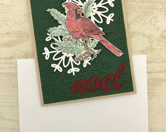 Cardinal Snowflake Card - Christmas Card - handmade card - traditional card - Noel card - card with snowflakes - Christmas cardinal