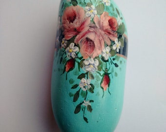 Annerley - hand-painted rock, aqua, roses, for giving and for getting, shabby chic