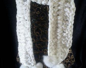 Scarf white crochet