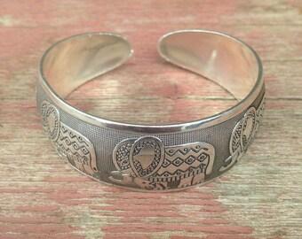 Beautiful Elephant Bracelet | Tibetan Elephant Bracelet | Elephant Cuff Bracelet