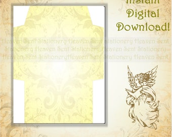Gold Envelope, Yellow Envelope, Printable Envelope, Digital Download Envelope, Digital Envelope, Envelope Page, Stationery Paper
