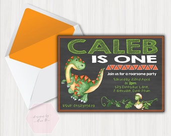 Dinosaur Birthday Invitation, Dinosaur Invitation, T-Rex Dinosaur Birthday Party Invite, Dino Birthday Invitation, 1st First Birthday Boy