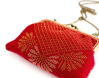 Red beaded purse in gold glass beads and crystals with Swarovski elements / Evening Purse / Clutch