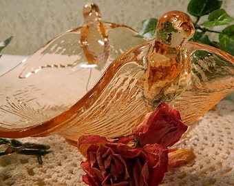 Vintage Fenton Pink Glass Dish with Birds, Pink Depression Glass Dish with Birds, Pink Dish with Birds, Bird Dish, Wedding Shower