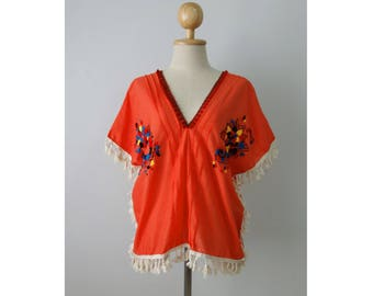 Hand Embroidered top, Orange blouse with hand embroidery, Oaxacan top, Boho top
