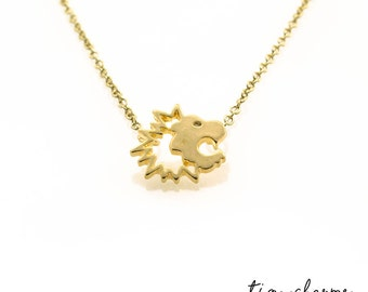 Lion Head Necklace, Roaring Lion Necklace, Gold Lion, Cute Animal Necklace, Minimalist Necklace, Small Pendant Necklace, Dainty Necklace