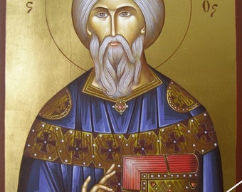 Saint Bonifatius, christian orthodox icon, original hagiography, άγιος Βονιφάτιος, hand painted on request, βυζαντινή αγιογραφία, εικόνα