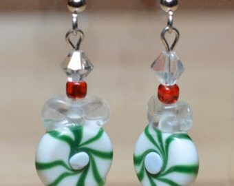 Holiday Earrings - Green Peppermint