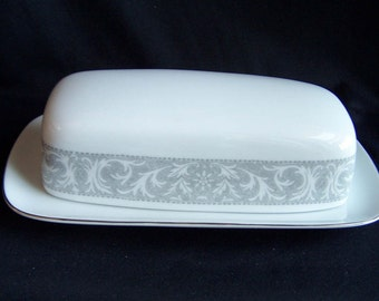 Imperial China 1/4 pound butter dish in the Whitney pattern, Mid Century Covered Butter Dish