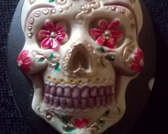 "Handmade & Painted ""Tarantino"" Sugar Candy Rockabilly Mexican day Of The Dead Skull Gothic Muerto Brooch"