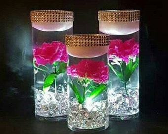 Wedding Centerpiece, Floating Candle Centerpiece with LED lights, Pink Flower Centerpiece, Wedding Decor, Bridal Shower Decoration, Birthday
