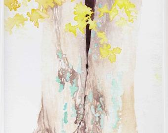 Lichen & Leaves, Tree Modern Art, Watercolor Art by Ochre Nest