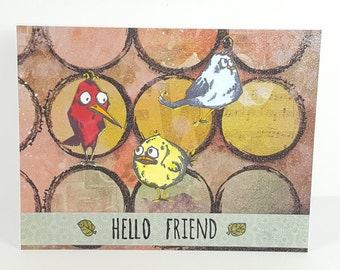 Funky Friend Greeting Card | Funny Handmade Best Friend Greeting Card | Hand Stamped Greeting Card for Friend | One of a Kind Greeting Card