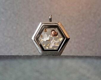 ORIGAMI Crane Necklace. Glass Locket. Love Bird Necklace. Swarovski Necklace. Valentine's Day Gift. Paper Anniversary Gift. Sterling Silver.