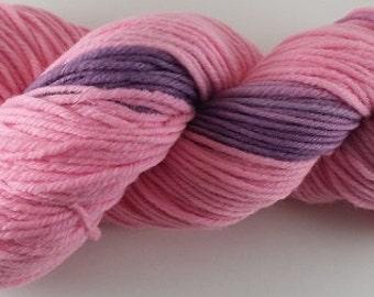 50/50 - Pink and Purple  - 100% Superwash Merino Wool SW Hand Dyed Worsted Weight Yarn