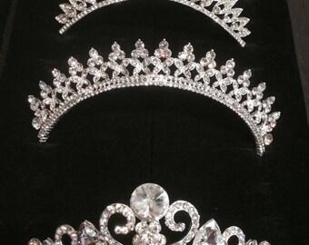 wedding tiara, bride hairpiece, rhinestones crown