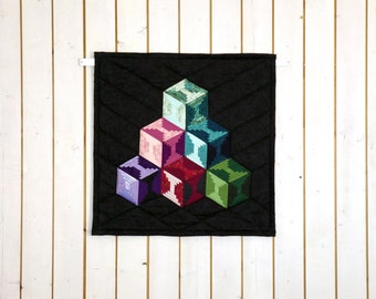 Modern Patchwork Quilt, Modern Quilt Wall Hanging, Modern Table Topper, Shiny Quilt, Shimmering Quilt, Shimmering Home Décor, Dazzling Quilt