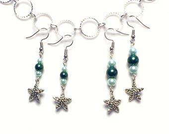 Starfish Earrings, Pearl Earrings, Pearl Dangle Earrings, Nautical Earrings, Beach Jewelry, Gifts for Her, Bridesmaid Gifts, Beach Wedding