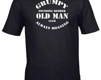 Grumpy Old Man Club Founding Member, Mens Funny Black T Shirt in Sizes S - XXXL